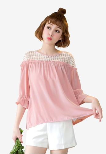 Tokichoi pink Lace Shoulder Blouse C196DAA20C67A9GS_1