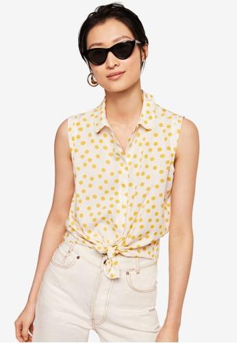 Mango white Sleeveless Print Shirt 5EBFEAA0F54B00GS_1