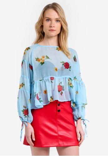 Mango blue Puffed Sleeves Floral Shirt MA193AA0RK8IMY_1