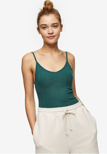 TOPSHOP green Forest Green Ribbed Cami FE120AAA88C2DBGS_1