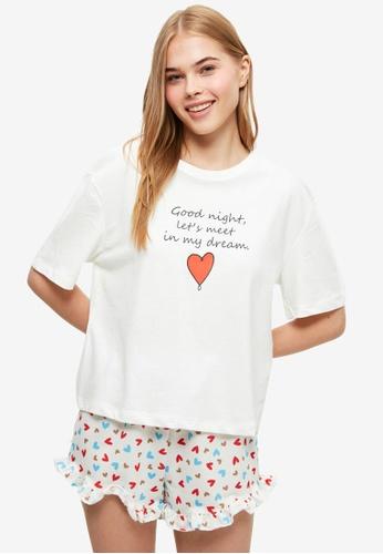 Trendyol white Heart Pattern Pyjama Set BA905AAE3FB550GS_1