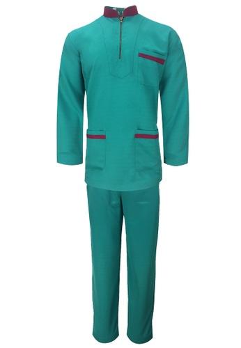 Pacolino green Baju Melayu Cekak Musang with pants For Kids - EBM1701Kid (Green) CC5C0KA3BB61A2GS_1