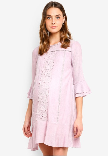 Spring Maternity 粉紅色 孕婦裝 荷葉邊長袖洋裝 3B6FFAA41ECF62GS_1