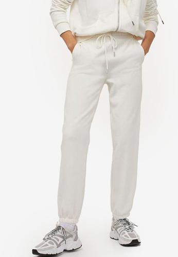 H&M white Cotton-Blend Sweatpants D1815AAF2F02AAGS_1