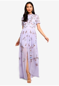 298601ecb9b76 Frock and Frill purple High Neck Floral Embroidered Maxi Dress  29607AA47C495EGS_1