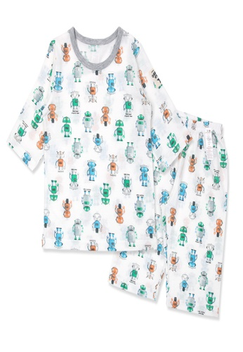 Organic mom multi Organic Cotton Mathew Robot 3/4 Sleeves Pjs 08BC1KACC824C5GS_1