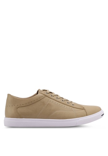 ZALORA beige Perforated Faux Leather Sneakers 027B2SHABEE434GS_1