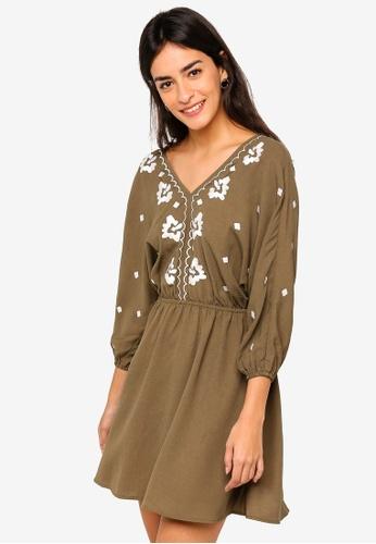 ZALORA green Kimono Fit And Flare Dress E4E77AA2E69E36GS_1