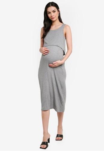 Mama.licious grey Maternity Sanny June Jersey Midi Dress 8061DAA8FF62FEGS_1