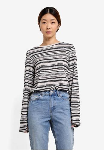 Esprit grey Stripe Long Sleeve Top ES374AA0T15RMY_1