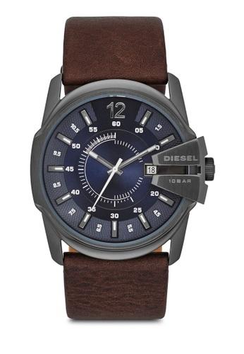 Diesel grey Diesel Master Chief Dark Brown Leather Watch DZ1618 DI095AC67AXGMY_1