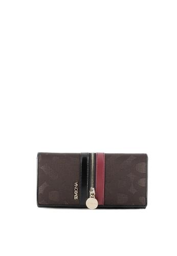 SEMBONIA brown Initial Jacquard Monogram Bi-Fold Continental Wallet (Brown) SE598AC0RVV8MY_1