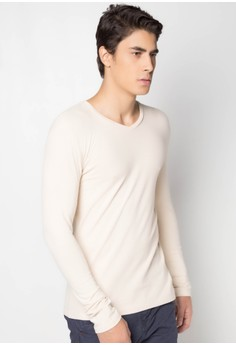 Men's Basic L/S V/N in Pique T-shirt
