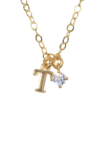 PSYNDROME gold Personalised Initial Letter Alphabet with Cubic Zircona Necklace - T BA30FACEDEBE21GS_1