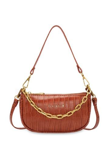 PLAYBOY BUNNY brown Chain Croc Effect Baguette Bag 073B8AC78A7F16GS_1