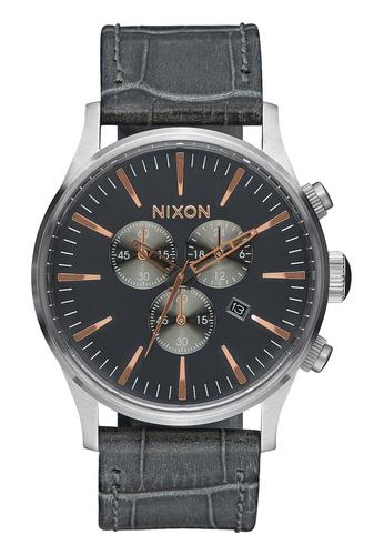Nixon grey Nixon - Sentry Chronograph Leather Grey Watch NI855AC77EASSG_1