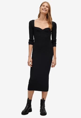 Mango black Ribbed Midi Dress E8333AAE7E9662GS_1
