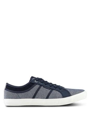 Jack & Jones navy Ross Chambray Mix Sneakers 9CFE0SH5CE5E4CGS_1