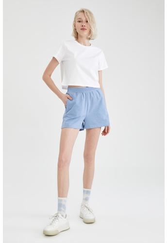 DeFacto blue Relax Fit Sweatshirt Short 3235BAAFEBE992GS_1
