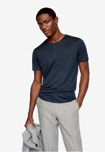 MANGO Man blue Regular Fit Linen T-Shirt EDF85AA21BDC21GS_1