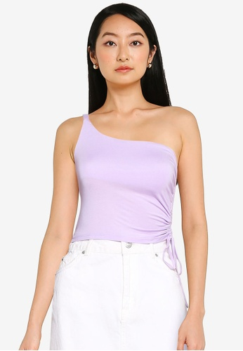 ZALORA BASICS purple One Shoulder Top With Side Ruching 860D2AAA8FC550GS_1