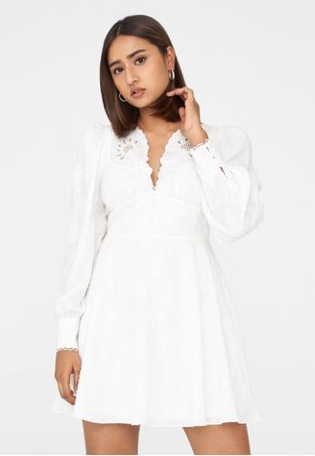 Pomelo white Mini Slash Neck Lace Dress - White F8C1FAA8A76FABGS_1