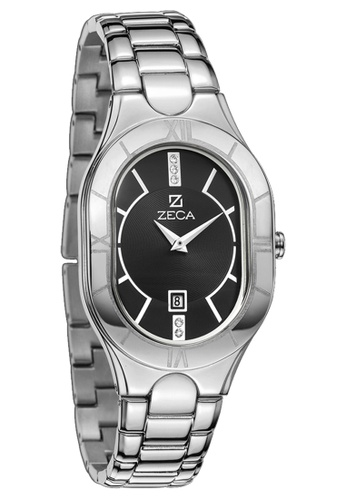 ZECA black and silver Zeca Watches Ladies Fashion Stainless Steel Analog - 157L Silver Black 91499ACADB482EGS_1