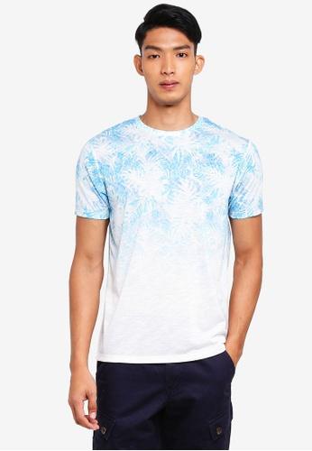 Burton Menswear London white and blue Sky Blue Floral Fade T-Shirt 4BB6EAA25A7181GS_1