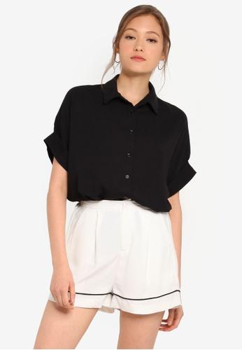 ZALORA BASICS black Basic Short Sleeve Shirt BAF5CAA1804DEEGS_1