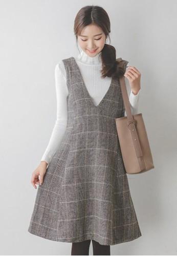 V領格子連衣裙, 服飾, esprit台北門市及膝洋裝