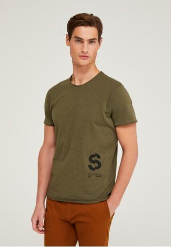 SISLEY green Printed T-shirt 8EE08AA6A80FB1GS_1