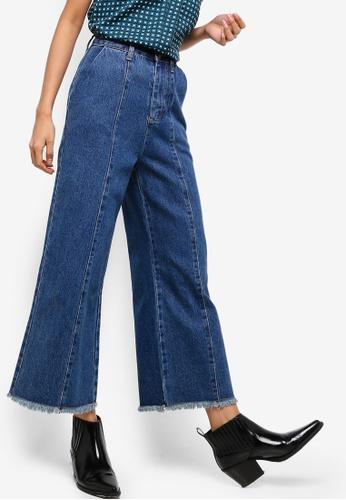 ZALORA blue Frayed Hem Wide Leg Jeans 082D5AACF7D4D9GS_1