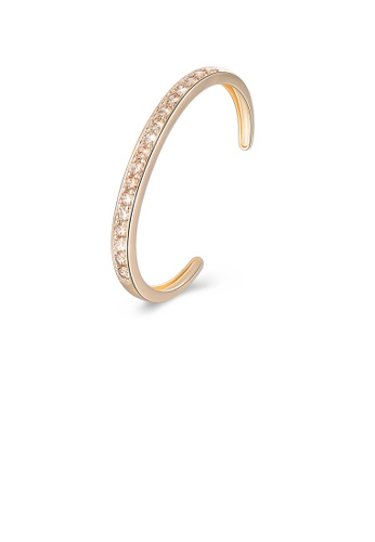Glamorousky yellow Elegant Plated Champagne Gold Open Bangle with Yellow Cubic Zirconia CA2E7ACE63A156GS_1