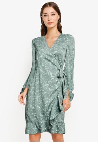 Vero Moda green Henna Long Sleeves Wrap Dress C4408AAA122C8DGS_1