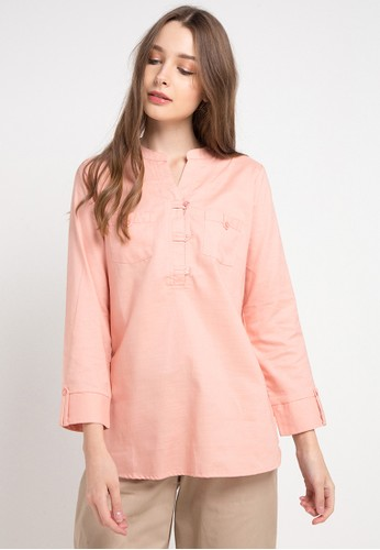 novel.mice pink Knot Button Tunic 80293AA847A17EGS_1