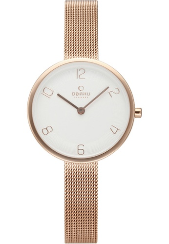 OBAKU white and gold Women's Analogue Quartz Watch in White Dial and Rose Gold Mesh Bracelet 98502AC8698BAAGS_1