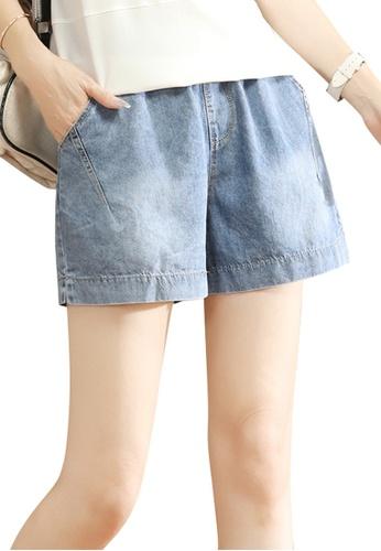 A-IN GIRLS blue Denim Shorts With Elastic Waist B2913AA7EA99F5GS_1
