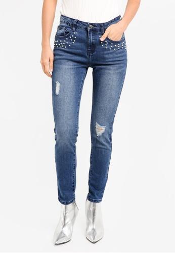 ZALORA blue Denim Pearl Embellished Highwaist Cigarette Cut Jeans C712CZZ14325C3GS_1