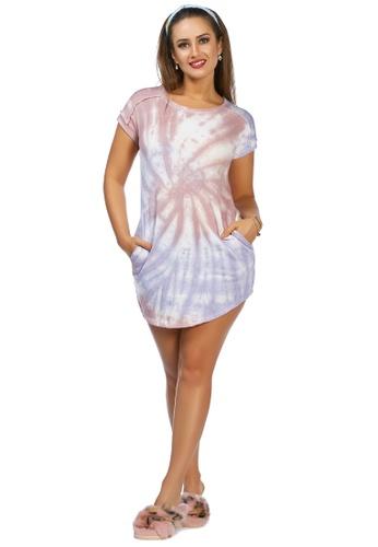 London Rag multi Tie Dye T-Shirt Dress in Beige and Purple FBD3FAAE06ADFCGS_1