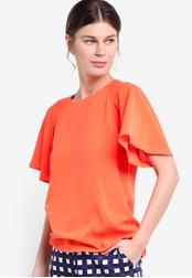 WAREHOUSE orange Pleated Sleeve Top WA653AA81LDIMY_1