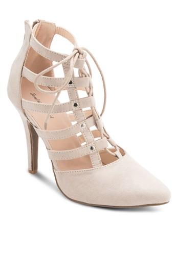 繫帶鏤空高跟踝靴、 女鞋、 鞋SomethingBorrowed繫帶鏤空高跟踝靴最新折價