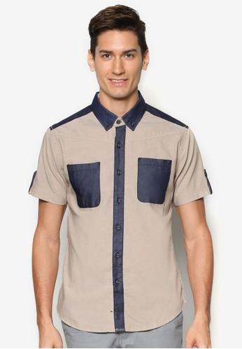 拼色短袖襯衫, 服飾, 襯esprit門市衫