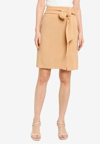 ZALORA WORK 褐色 彈性針織綁帶裙 1EF6FAA47C737FGS_1
