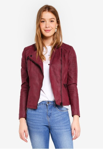 ONLY red Ava Faux Leather Biker CB8E8AA31BCB2AGS_1