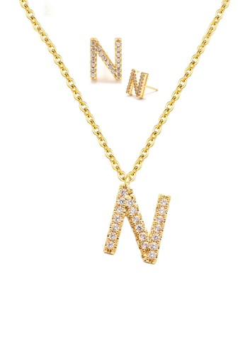 """Atrireal gold ÁTRIREAL - Initial """"N"""" Necklace + Earrings Jewellery Set in Gold 27F02ACDF6C038GS_1"""