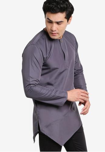 Amar Amran black and grey Kurta Al Fattah AM362AA34JYNMY_1