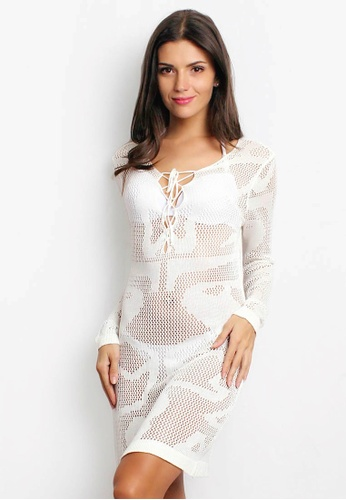 Shapes and Curves white Butterfly Pattern Sexy V-Neck Beach Cover Up Dress SH408US71BSMPH_1