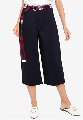 Hopeshow navy Straight Capri Pants with Belt 66902AA3969091GS_1