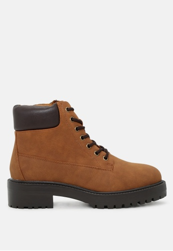 London Rag 褐色 系鞋带脚踝短靴 SH1719 B4FEDSH4ED8D59GS_1