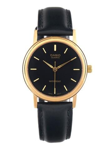Casio black Casio Jam Tangan Pria - Black Gold - Leather Strap - MTP-1095Q-1A F42BBACF675C71GS_1